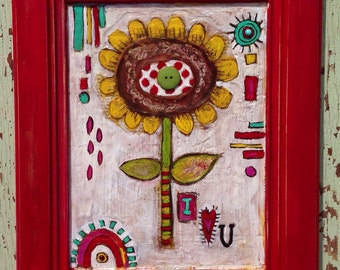 Valentines Day Folk Art Sunflower Love