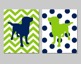 Labrador Puppy Dog Nursery Art Duo - Set of Two 11x14 Chevron Zig Zag Polka Dot Stripe Prints - CHOOSE YOUR COLORS and Background