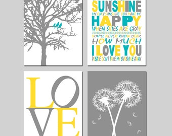Yellow Gray Turquoise Nursery Art - Set of Four 8x10 Prints - You Are My Sunshine, LOVE, Birds in a Tree, Dandelions, Bird on a Branch