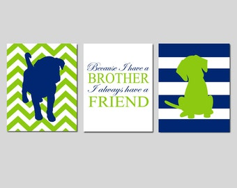 Twin Boy Nursery Art - Set of Three 8x10 Prints - Chevron Stripe Puppy Dogs, Because I Have A Brother Quote - CHOOSE YOUR COLORS
