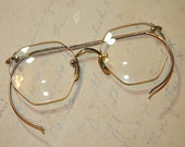 Octagon Shaped EYE GLASSES Vintage Rimless with Wire Temples 12K Gold