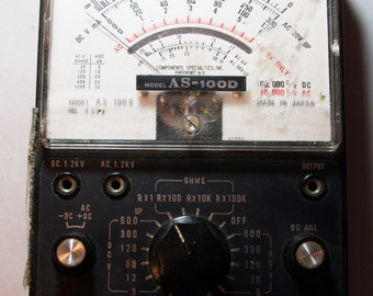 Vintage Black Industrial OHMS Speco Meter Voltage Tester Steampunk Style