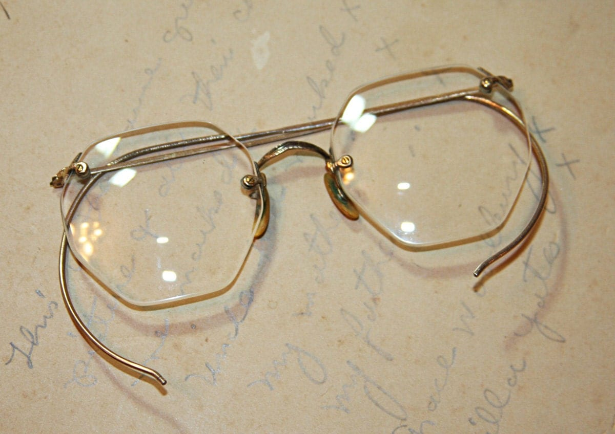 Rimless Octagon Eyeglass Frames : Octagon Shaped EYE GLASSES Vintage Rimless with by ...