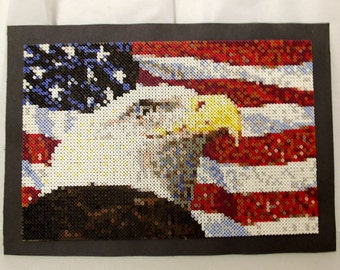 Vintage American Flag and Eagle - Handmade Perler Bead Art - Large Patriotic Craft