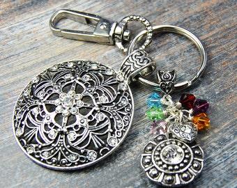 Mom - Our Family Is A Circle Of Strength, Faith & Love - Custom Made Birthstone Keychain