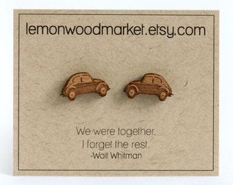 VW Beetle Earrings - alder laser cut wood earrings