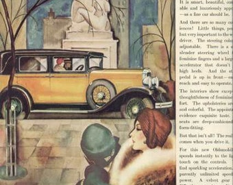 1928 Oldsmobile Auto Ad Car for Women - High Society Artwork