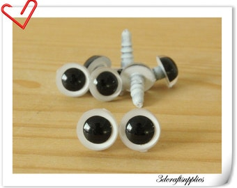 9 mm  white  Safety eye amigurumi eye doll eyes cat eye  24 pieces EB54