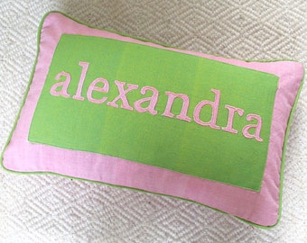 name pillow. pink and apple green  personalized kids   pillow. custom  made  cushion  cover.  choose  your  own  colors 12 x18