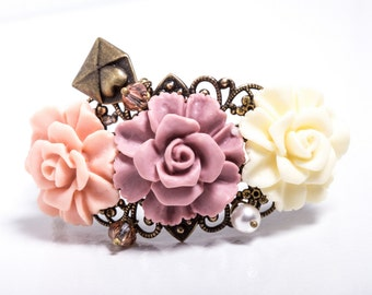 Love Letter Resin Rose and Antiqued Bronze Filigree Cuff
