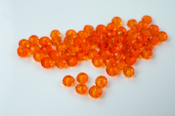 Bright Orange Faceted Crystal Rondelle Beads