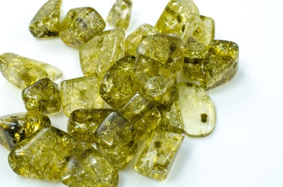 Sage Green Crackle Glass Nugget Beads