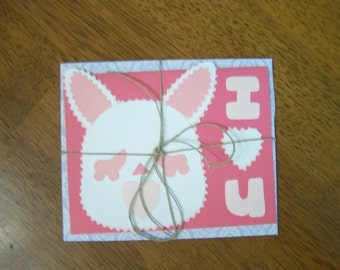 "bun bun ""i heart u"" card and envelope"