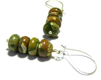 Rhyolite Earrings, Tribal Earrings, Gemstone Earrings, Ethic Jewelry, Boho Jewelry, Ethic Jewelry, Gift Ideas, Hippie Jewelry, Gift Ideas