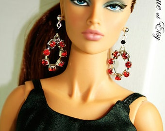 """Sparkling Red Crystal Earrings Fits 16"""" tall dolls."""