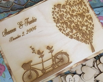 Bicycle wedding guest book , rustic tree guest book , wedding tree book , guest book alternative , guest book
