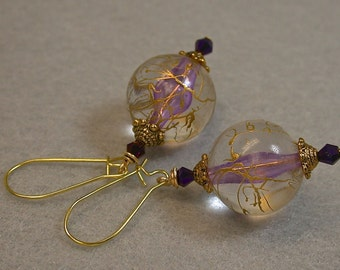 Vintage Japanese Clear Lucite Gold Drizzle Bead Earrings, Purple Iridescent Crystal,Gold
