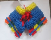 Crocheted In-Line Roller Blade Skates Pink  Blue or Yellow Baby Booties  0-6 months