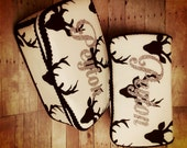 Personalized Deer antler ivory and black baby wipes case antler diaper bag accessory nursery wipe case nursery baby decor Set of 2 glitter