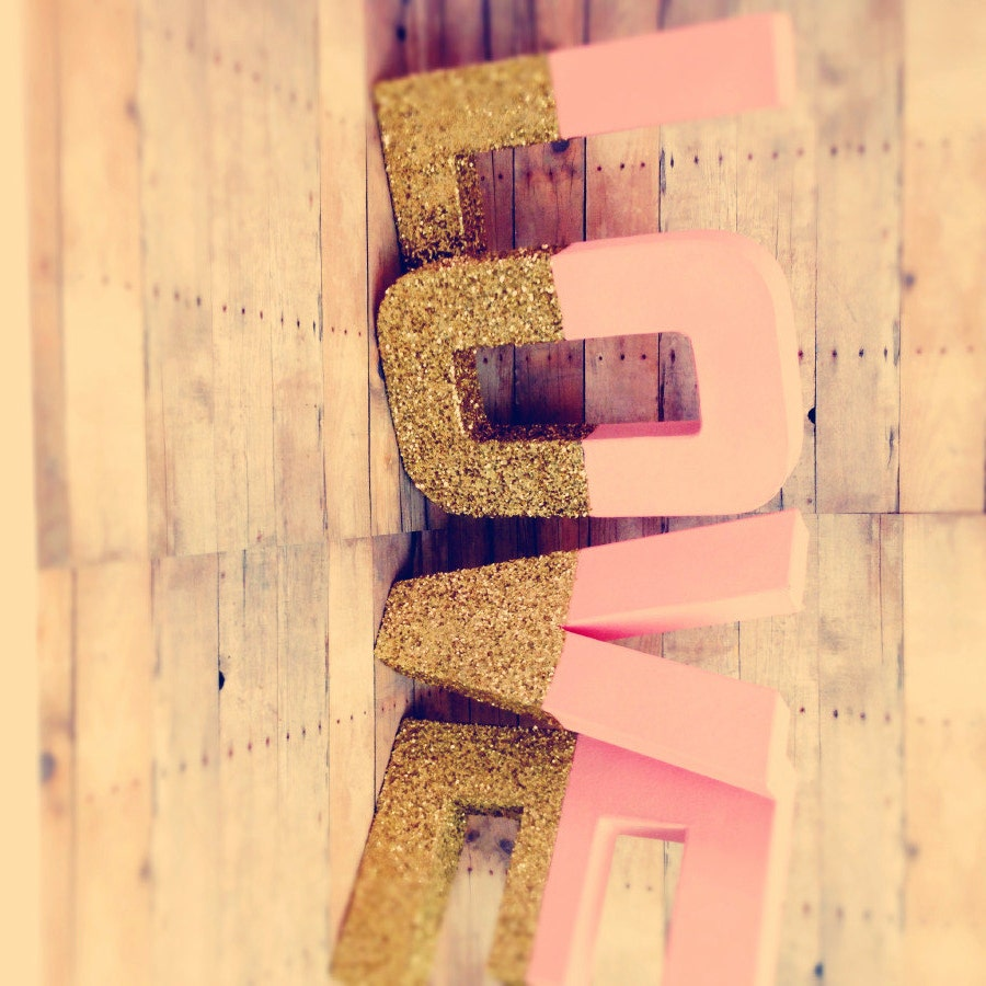 Gold glitter Letters self standing pink and gold glitter baby ...