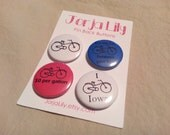 "Set of four 1"" pinback buttons, Bicycle Ride"