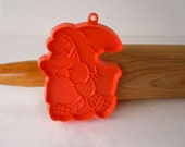 Vintage Halloween Hallmark Witch Fondant Cookie Cutter Orange Hard Plastic Imprint Cookie Cutter