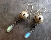 Bohemian Gypsy Sterling Gemstone Earrings Boho Chain Goth