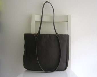 Brown Genuine  Leather Tote Shoulder Bag