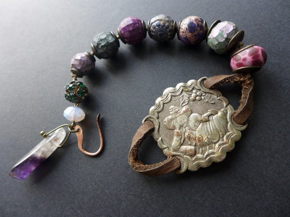 Daydreamer. Chunky purple rustic assemblage bracelet in shades of purple.