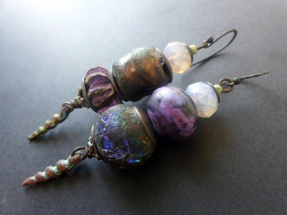 Celestial Light. Rustic assemblage earrings in iridescent purples.
