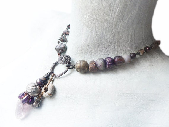 Waldeinsamkeit. Rustic assemblage choker necklace in grey and purple.