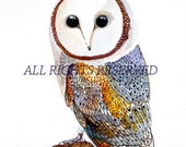 Barn Owl Illustration, children wall art, Print from original painting