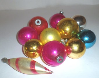 Vintage Glass Christmas Ornaments - Pink and White Tapered Ornament - Ball Ornaments - Pink Ornaments - Gold Ornaments - Blue Ornament