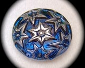 PAiR Czech Glass Buttons 27mm - 1 1/16 inch Starry Night Sky - Silver Luster Stars on Iridescent Cosmos Blue - 2 Glass Buttons GL17