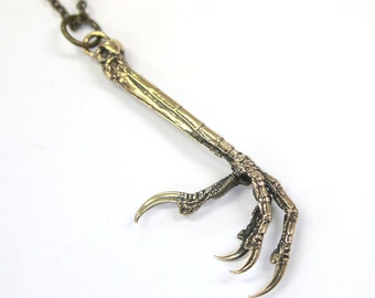 Two for One Sale...Raven Claw Necklace Bronze Crow Claw Necklace Bird Claw Pendant Necklace 452