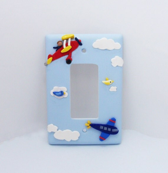Airplane Light Switch or Outlet Cover - Airplane Nursery - Childrens Aviation Themed Room Decor - Toggle Cover or Rocker Cover