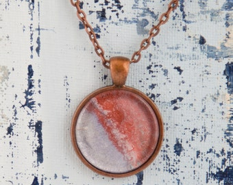1 Inch Hand-Painted Round Antique Copper Pendant Necklace, Original Artwork by Hilary Winfield