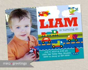 Transportation Birthday Party Invitation - Printable Digital File