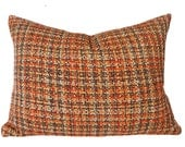 Tweed Pillow Cover, Nubby Tweed Throw Pillow, Mens Textured Pillows, Autumn Colors, Brown Gold Red, Vintage Plaid Pillows, 18x18