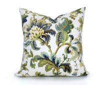 Cream Blue Floral Pillow Covers, Elegant Designer Pillows, Cream Blue Green Gold, Jacobean Flowers, Country Home Decor, 18x18,  20x20