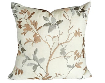 Luxury Embroidered Pillows, Cream Linen Pillow Covers, Metallic Leaves Pillow, Gold Silver Tan Grey Botanical Contemporary Decor 22x22 20x20
