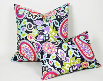 Colorful Paisley Pillows, Black White Pink Purple Green Pillow CoverS, Unique Eclectic Pillows, 12x18 Lumbar, 16x16, 18x18, 20x20