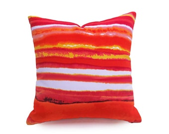 Vibrant Watercolor Pillow, Colorful Striped Pillow Covers, Bohemian, Sunset Colors, Red Pink Orange Yellow, Unique, Beach House Decor, 18x18
