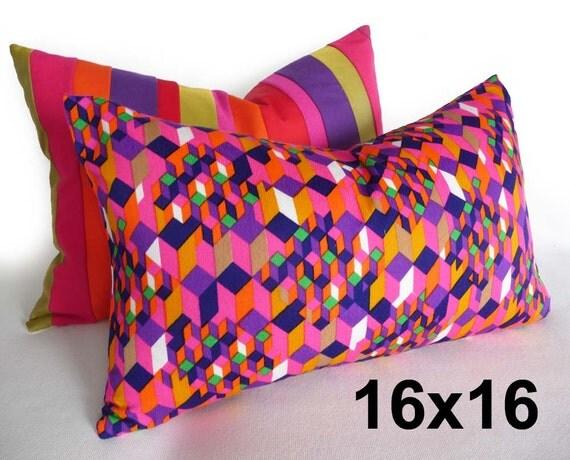 Colorful Bohemian Pillows, Boho Cushion Covers, 16x16, Pink Orange Purple, Unique Retro Pillows, Eclectic Pillows, Girls Dorm Decor SALE
