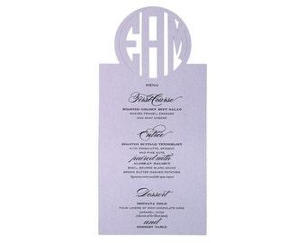 Circle Monogram Menu Cards - cutout initials on colored paper