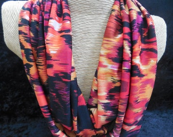 Wildfire Infinity Scarf - Tie Dye Circle Scarf - Red, Pink, Orange, Yellow, Black Summer Scarf
