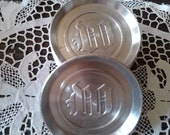 """Set Of Eight Mid Century Mad Men Vintage Monogram """"W"""" Brushed Polished Aluminum Coasters"""