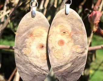 Naturally Alluring Lightweight Buckeye Burl Wood Earrings