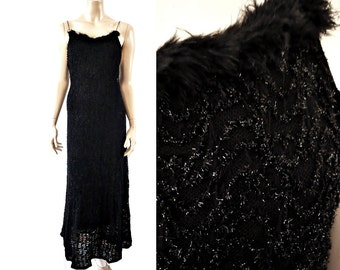 BIANCA French Vintage Black Lace Stretch Maxi Party Dress with Fur neckline