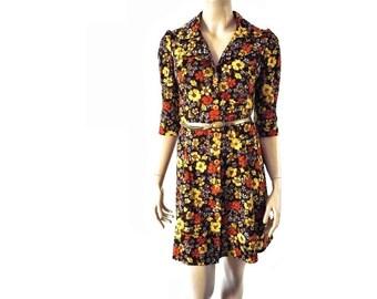 Vintage Brown Floral Print 60s Shirt Dress